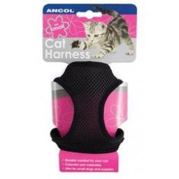 Ancol Cat Soft Black Harness & Lead
