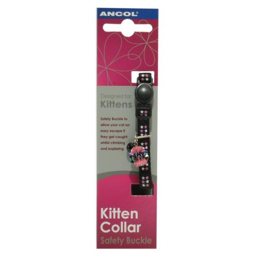 Ancol Luxury Jewel Black Safety Buckle Kitten Collar