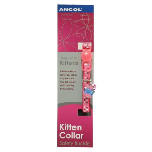 Ancol Luxury Jewel Pink Safety Buckle Kitten Collar