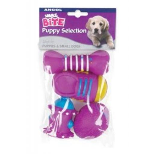 Ancol Small Bite Puppy Vinyl Selection 4pk