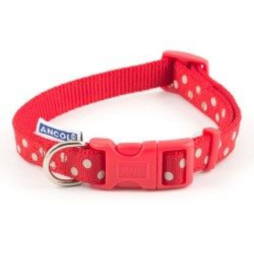 Ancol Nylon Adjustable Polka Dog Collar