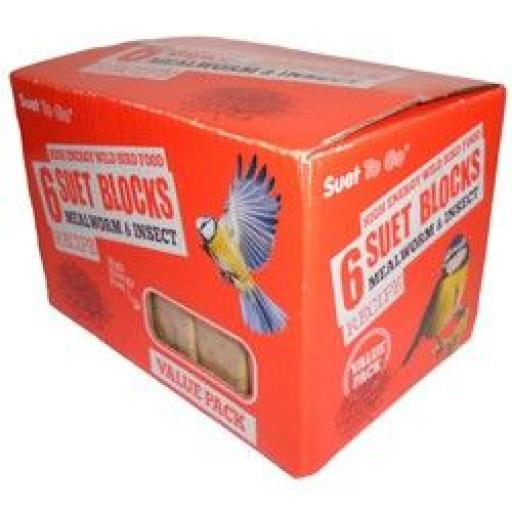 Suet To Go Mealworm & Insect Block Value 6 Pack