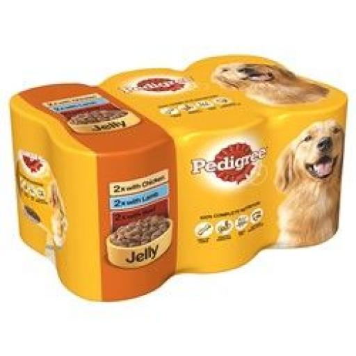 Pedigree Adult Dog Food Tins Mixed Selection in Jelly 6x385g