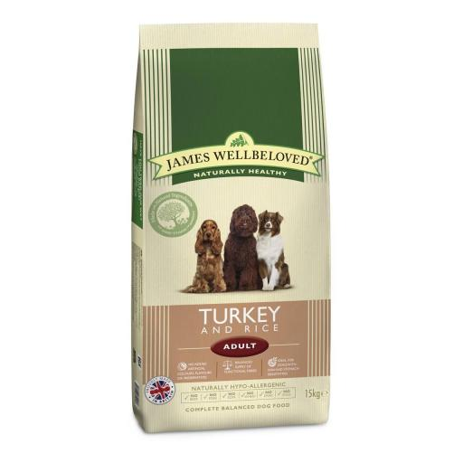 James Wellbeloved Adult Turkey & Rice Kibble Dog Food SAVE £££ on 15kg